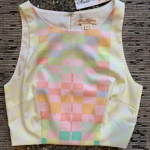 Mara Hoffman pastel crop checkered top 4